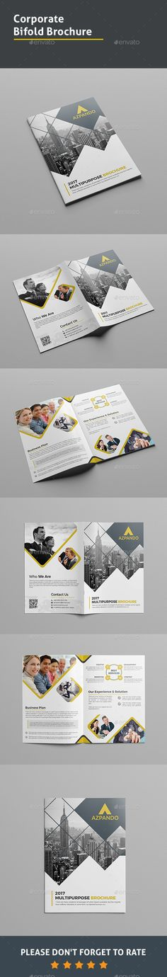 Corporate Bi-fold Brochure  —  PSD Template • Download ➝…