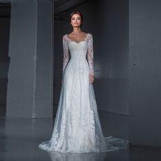 AliExpress for sale Nouveau Design Sirène Robe De Mariage À L'intérieur 2016 Dentelle Robe de Mariée Manches longues En Dentelle Balayage Train robe de noiva Lady Blanc robe