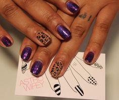 Purple Glitter with Cheetah Accent Nail Art