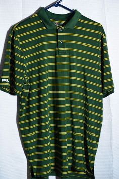 RLX Ralph Lauren Striped Polo Golf Shirt Mens Size L Green Blue & Yellow Large  #RalphLauren #PoloRugby