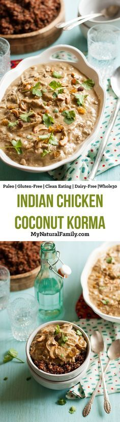 Indian Chicken Coconut Korma Recipe {Paleo, Clean Eating, Gluten Free, Dairy…