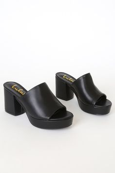 Add some extra sass to your strut with the Lulus Curtis Black Platform Mules! Vegan leather peep toe mules with a chunky toe platform and block heel. Platform Sandals Chunky, Platform Mules, Platform Stilettos, Platform High Heels, Black Mules, Black Sandals, Peep Toe Mules, Heeled Mules, Wedge Boots