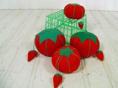 Vintage Red Fabric Tomato Pin Cushions Collection  by DivineOrders, $39.00