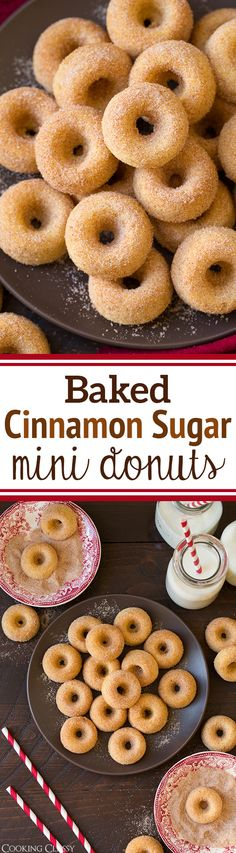 "Baked Cinnamon Sugar Mini Donuts - previous Pinner wrote: ""my kids LOVED these. So soft and perfectly cinnamony. Mini Desserts, Mini Donut Recipes, Just Desserts, Dessert Recipes, Pretzel Recipes, Baking Desserts, Aniversario Peppa Pig, Baked Donuts, Bon Appetit"