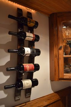 Rustic Wine Rack With Steel Banding Made From Reclaimed Wood