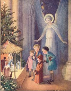 "Margaret Tarrant Christmas ""The Creche"" Vintage Bookplate 1941"