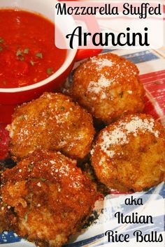 Mozzarella Stuffed Arancini - these Italian Rice Balls are creamy, cheesy, and crispy. A delicious appetizer or meal! @riceselect