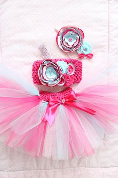 5a3549fb2 Gorgeous Hot Pink and Aqua Cake Smash Outfit Tutu Set 3 Piece for Baby Girl  Newborn-18 Months First Birthday Pageant Dress