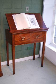 A very rare Sheraton Period Inlaid Mahogany Secretaire Reading Table now on display at Harvey's.