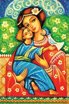 Religious folk art icon Mary and Jesus child painting Virgin Mary Mothers love Madonna with Child Christian folk art Mother And Child Painting, Painting For Kids, Art For Kids, Immaculée Conception, Mary And Jesus, Madonna And Child, Art Icon, Arte Popular, Sign Printing