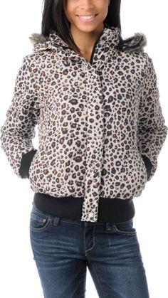 Volcom Girls Hot Mitts Leopard Print Puffer Bomber Jacket