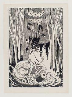 「ムーミン谷の夏まつり」挿絵、インク、1954年 トーベ・ヤンソン タンペレ市立美術館・ムーミン谷博物館蔵  Moomin Characters Tampere Art Museum Moominvalley(2015-03-18)