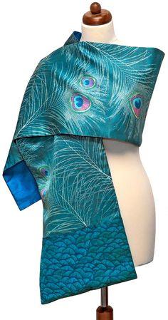 Peacock Tales.  Scarf wrap individually digitally printed on silk satin. Designed by Baba Studio.. $156.00, via Etsy.