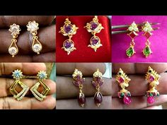 Gold Bridal Earrings, Gold Earrings Designs, Gold Hoop Earrings, Drop Earrings, Gold Jewelry Simple, Cute Jewelry, Beaded Jewelry, Small Earrings, Designer Earrings