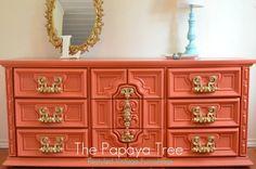 Aqua and Tangerine Tango 9 drawer triple Dresser by ThePapayaTree
