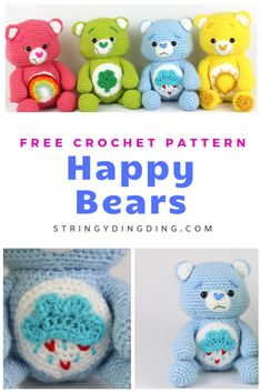 Happy Bears – Free Amigurumi Crochet Pattern Make one of these Happy Bears with this free crochet pattern! The possibilities are endless, as you can pick any color for your bear and make any applique you desire for his tummy. Crochet Teddy Bear Pattern, Crochet Amigurumi Free Patterns, Crochet Animal Patterns, Stuffed Animal Patterns, Crochet Dolls, Crochet Stuffed Animals, Crochet Animals, Free Crochet Patterns For Beginners, Octopus Crochet Pattern Free