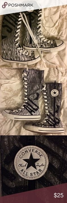 Midcalf Converse Chuck Taylor's size 12 girls Back to school favorite! You would almost think these were new! And they basically are🤗 got them for my daughter, last year, and she wore them once before she outgrew them, look at the tread on the bottom of those! Super cute and glittery 💃🤗🎉 bit of a scuff on right toe cover, but you know they won't stay white for long after they get worn. 🤣 Converse Shoes Sneakers