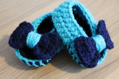 Baby Girl Crochet Open Toe Ballerinas with Bow Size 0-3M