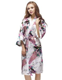 White Satin Peacock Kimono Robe, Wedding Kimono Nightgown, Short Style Bridesmaid Robes, Bachelorette Party Robes