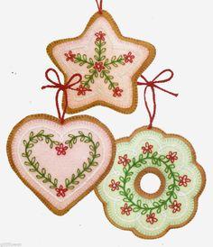 free felt ornament patterns   Felt Cookie Christmas Tree Ornaments Vintage Sewing Patterns   eBay