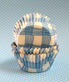Blue plaid cupcake liners