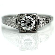 Art Deco 14 Kt White Gold Old European Cut Diamond Engagement Ring Circa Early 1900's #weddings