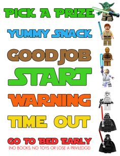 This is a Lego Star Wars behavior chart that I made for my 5 year old son. It is a great way to reward good behavior and teach him respect. He is constantly walking by the chart to see where he is. Just yesterday he cleaned his entire room without me even asking him to, just so he could move up on the chart. This thing has worked wonders with his behavior and I'm sharing it with you in hopes that it will do the same for your kids. So, take it and use it and may the force be with you!