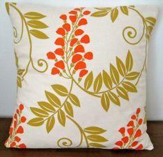 Cream Green and Orange Handmade Floral Cushion by miaandstitch, $25.00
