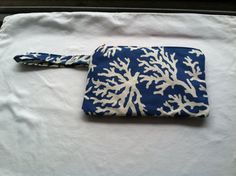 Hand made Large Wristlet with blue coral by KatiesKraftKitchen, $15.00