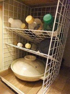 under sink storage idea Kitchen Sink Organization, Sink Organizer, Kitchen Organization, Organization Hacks, Kitchen Storage, Muji Storage, Under Sink Storage, Cubes, Metal Rack