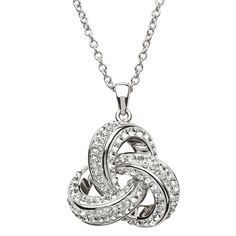 A stunning sculptural Trinity knot necklace in sterling silver and Swarovski crystal, buy now