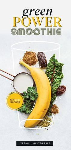 Fuel your busy lifestyle with my Green Power Smoothie. It's packed with nutrients so you can start every morning with the energy needed to conquer your day! Smoothie Bowl Vegan, Smoothies Vegan, Vegan Breakfast Smoothie, Smoothies Detox, Power Smoothie, Healthy Vegan Breakfast, Healthy Foods To Eat, Healthy Fats, Healthy Drinks