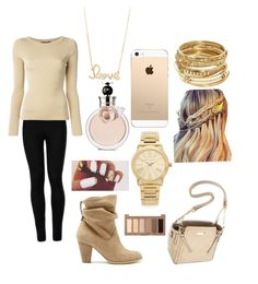 """""""Gold outfit"""" by hannahsdisney on Polyvore featuring Sole Society, ABS by Allen Schwartz, Wolford, Dolce&Gabbana, Michael Kors, Sydney Evan, Urban Decay and Valentino"""