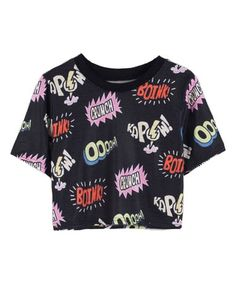 Cropped T-shirt with Cartoon Letter Print. Follow me @Emily TrueTeen