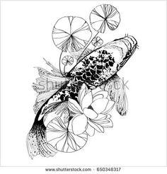 illustration of koi fish. drawing vector. vector illustration Japanese motif. japan background. hand drawn of japan. Koi Carp - digital art. Japans symbol as happiness, wealth, courage, luck and love