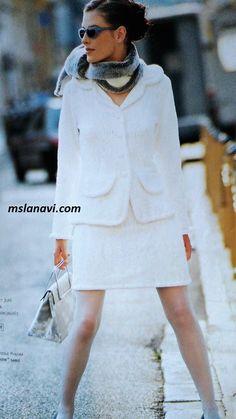 Белый костюм спицами в стиле Шанель - ОПИСАНИЕ http://mslanavi.com/2017/09/belyj-kostyum-spicami-v-stile-shanel/