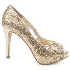 c55251f34 Peep Toe confeccionado em tecido cetim todo revestido em GLITTER.O luxo da  cor dourada