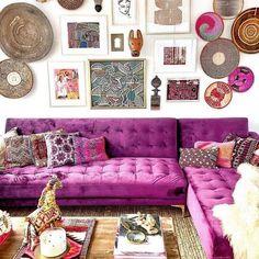 17 Stylishly Boho Living Room Purple To Get A Luxu - Boho Chic Living Room Bohemian House, Bohemian Living Rooms, Living Spaces, Bohemian Furniture, Bohemian Interior, Bohemian Decor, Boho Chic, Bohemian Style, Bohemian Fashion