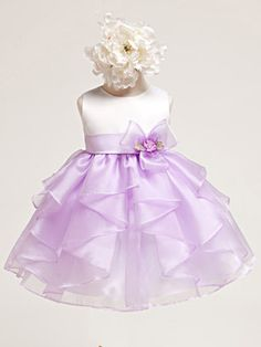 Baby Girl Satin Bodice w/ Lilac Layered Organza Dress. Fully lined to keep her happy and comfy. $44.99