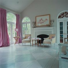 painted floor, drapes, photo, painted furniture, love it all.