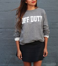 Go Off Duty in this classic unisex pullover sweatshirt featuring side-seam details.  (65% Cotton/ 28% Polyester/ 7% Rayon) construction.Unisex sweatshirt runs true to size and has a classic look. Jules wearing a size Small. All orders will ship within 2-3 business days.Please allow 6-10 Business days for international ordersEach piece is lovingly made in the USA