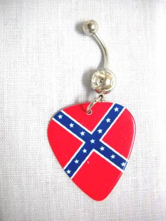 Red White & Blue Rebel Confederate Flag Double Sided by Nails2Die4, $6.99