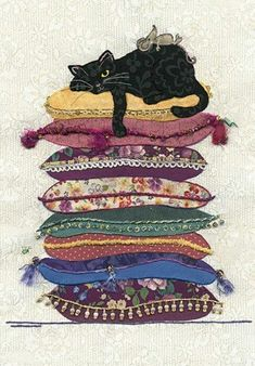 Black Cat Card by Jane Crowther. One of many cards for cat lovers. Bug Art at Tattypuss. Cool Cats, I Love Cats, Crazy Cats, Gatos Cool, Bug Art, Cat Cushion, Cat Quilt, Cat Drawing, Cats And Kittens
