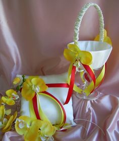 Yellow and Red Wedding Flower Girl Basket and Ring Bearer Pillow