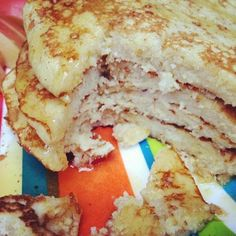 4 Ingredient GF Pancakes. Eggs, bananas, milk, and coconut flour.
