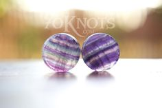 This listing is for one pair of rainbow fluorite stone plugs. They are double flared, polished, and available in sizes 6mm to 25mm.    2g - 6mm  0g - 8mm