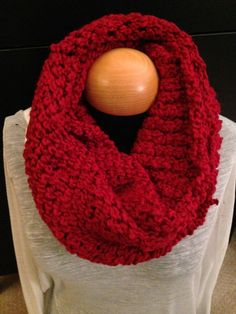 Handmade knit infinity winter scarf - Red.  By: Scarves by Chelsey   #knit #infinity #scarf #handmade #scarves #winter #warm #fashion www.facebook.com/scarvesbychelsey Check us out on Etsy!