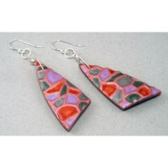 Handcrafted Dangle Earrings  Rose Pink Copper Faux by 11BOLDstreet, $22.00