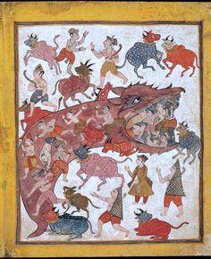 Krishna Defeats Aghasura 17th C. India ACSAA Digital Images (Museums)