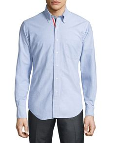 THOM BROWNE Long-Sleeve Cotton Oxford Shirt, Blue, Blue Light. #thombrowne #cloth #